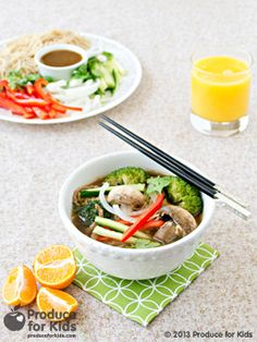 Asian Noodle Soup - Looking for a quick, easy and delicious weeknight dinner? This Asian Noodle Soup is packed with both flavor and healthy veggies, and is perfect for when evenings are busy with homework and after-school activities! #nutfree #soup #recipe #healthy #ProduceforKids