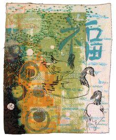 Melanie Testa, mixed media art quilt: happiness