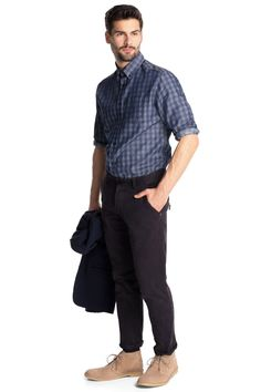 Esprit : Camisa a cuadros, cuello botones, algodón en la Online-Shop