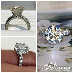 What a #classic beauty! This #Adiamor ring has a 5ct #roundcut #diamond on a 3mm custom band. #engagementrings