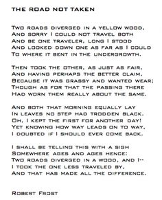 Full quote.  I've had this memorized since high school. Robert Frost