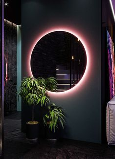 Have Meir add pink light around mirror and other cool accent pieces (like the wooden head) Home Room Design, Dream Home Design, Home Interior Design, Interior Decorating, Bar Deco, Ästhetisches Design, Living Room Decor, Bedroom Decor, Aesthetic Room Decor