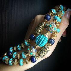 """Купить Браслет """"Лакшми"""" - бирюзовый, бирюзовый браслет, красивый браслет, крупный браслет, Этнический стиль"""