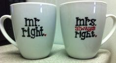 his and hers coffee mug set wedding shower by GorgeousGlassware, $25.00