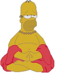 Cross Stitch Knit Crochet Plastic Canvas Waste Canvas Rug Hooking and Bead Work Pattern  Homer Simpson as Buddha.  Ommmmmmmm  https://www.pinterest.com/resparkled/