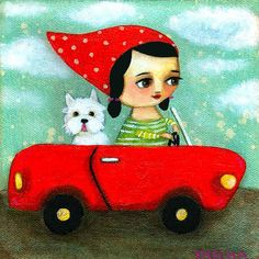 WESTIE dog in red car PRINT of an original painting by por tascha, $15.00