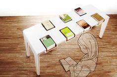 本を展示するかのように収納できるテーブル「library EXHIBI Table」
