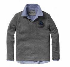 Scotch & Soda Shrunk Pullover With Inner Shirt