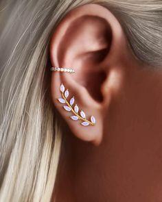 Tiny Stud Earrings, Opal Earrings, Bridal Earrings, Ear Jewelry, Cute Jewelry, Jewellery, Ear Climber, Pretty Ear Piercings, Ear Crawler Earrings