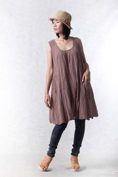 372767f54d8 NO.19 Dusty Pink Cotton Tunic Pleated Front Long Top on Etsy