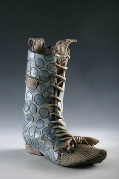 """It's ceramic, but wouldn't they be great:   Linda Bristow: """"Originally created to protect the feet, shoe design today often has the opposite effect. Shoes have become a fashion obsession, creations of fantasy, and more often an essential extravagance."""