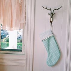 Light blue Christmas stocking personalized modern by daisiesandco