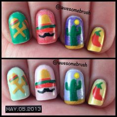 Cinco de Mayo nails with Polished by KPT