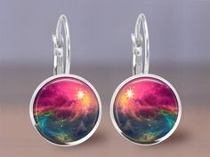 Earrings  Jewelry 12mm Space Nebula 1  Your by MaDGreenCreations, $8.95