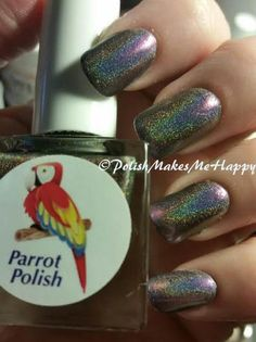 "Parrot Polish .... another beautiful polish... these are by far, my favorites, the color shift holos!!! This is Arcobaleno! This means ""Rainbow"" in Italian.. Described as a silver linear holo - to an opalesque purple... To me, it just means GORGEOUS!!!"