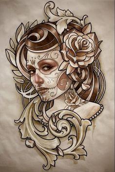 ~ Drawing Catrina ~ by Ben Hamill 16 Tattoo, Tattoo Motive, Tatoo Art, Tattoo Fonts, Tatuajes Tattoos, Bild Tattoos, Tattoo Sketches, Tattoo Drawings, Tatoo Crane