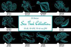 10 vector hand-drawn sea creatures by RichmanStudio  @layer3templates #brochures #templates #design #photoshop #restaurants #food