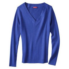 Merona® Women's V-Neck Rib Pullover Sweater - Assorted Colors IN PURPLE