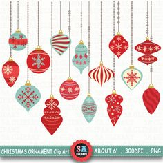 """Christmas Ornaments ClipArt """" CHRISTMAS ORNAMENTS""""pack,Christmas Clipart,Christmas Balls,Winter,Snow,Snowflakes,Christmas Decorations Crs024 by SAClipArt on Etsy"""