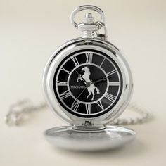 Silver Horse Roman Numeral Pocket Watch - elegant gifts gift ideas custom presents