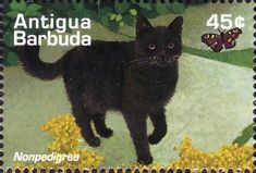 Antigua and Barbuda - 1995 postage stamp with black cat