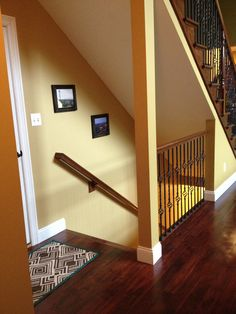 Exactly what I want to do to open the stairway to the basement. (This picture looks like our house, paint color and all!)