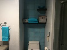 My new bathroom.  With turquoise cement tile