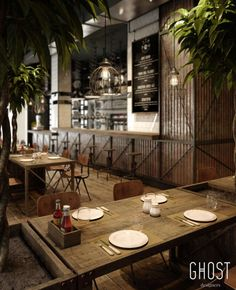 Räucherei Restaurant - Rustic Home Grill Restaurant, Outdoor Restaurant Design, Vintage Restaurant, Restaurant Interior Design, Restaurant Tables, Industrial Restaurant Design, Restaurant Table Setting, Brewery Interior, Container Restaurant