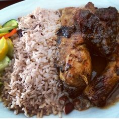 Jerk Chicken from Jamaica Gates in Arlington, Texas. Curry goat, Brown Stew fish.. REAL Jamaican food