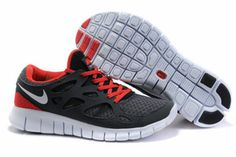 Nike Free Run 2 Anthracite White Black Sport Red-Mens