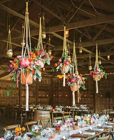 Hanging centerpieces | Rebekah Murray Photography | blog.theknot.com