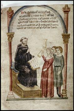 Constantino dando charlas sobre Uroscopia (Italia, siglo XIII)