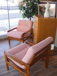 Pretty in Pink! Danish Lounge Chairs in Teak! Just in at Retro!