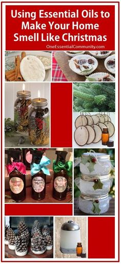 9 Ways to Use Essential Oils to Make Your Home Smell Like Christmas- diffuser blends, ornaments, room sprays, fire starters, scented pinecones, pomanders, gel air fresheners, and more