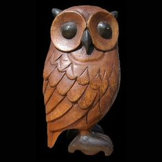 Love this wooden owl by proteamundi Carved Wooden Animals, Whittling Wood, Bone Crafts, Wood Owls, Owl Pictures, Bird Statues, Wood Carving Patterns, Beautiful Owl, Art Carved