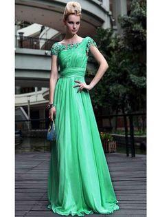 Exquisite Abendkleider Grün A-Linie Chiffon Lang mit Ärmeln