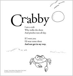 Summer children's poem about a crab on the beach. Great for school and classroom activities. common core 1st grade, 2nd grade, 3rd grade reading #ESL