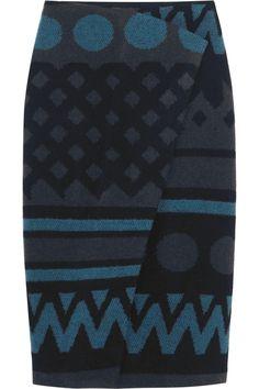 Burberry Prorsum | Wrap-effect wool and cashmere-blend skirt | NET-A-PORTER.COM