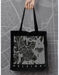 map-helsinki-kangaskassi musta40x40 Design Shop, Helsinki, Reusable Tote Bags, Map, Shopping, Location Map, Maps