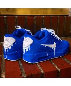 detailed look db798 d1a23 Chaussures Nike Air Max 90 Candy Drip Blanc Bleu Royal Blue Trainers, Mens  Trainers,