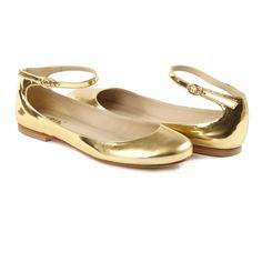 ALETTA GOLD Mary Janes Flats   Handmade in Italy