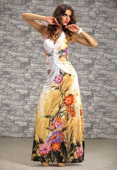 Women Evening Party Dress Beach Long Maxi Print Flower Summer crystal Sundress #Unbranded #Maxi #Beach