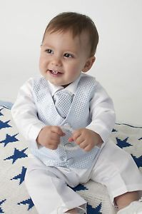Baby Boys 4 Piece Christening Outfit Christening Suit Blue White Check | eBay