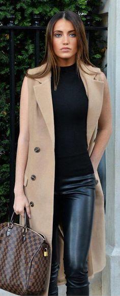 #winter #fashion /  Camel Sleeveless Coat / Black Sleeveless Knit / Leather Leggings