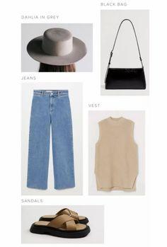 Spring outfit inspiration, women's denim under $100, black bag, sweater vest, women's felt hat, spring style, mango style#LTKstyletip #LTKunder50 #LTKunder100