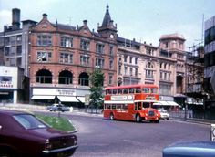 Derby Road Roundabout , Nottingham 1973 Maid Marian Way on the right hand side with Upper Parliament Street behind the bus. Photo Credit: Ed Dexter.