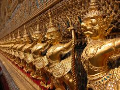 Details of the outside, temple of the Emerald Buddha, Bangkok