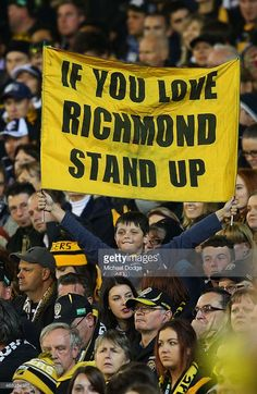 A Tiger fan shows his support during the round one AFL match between the Carlton Blues and the Richmond Tigers at Melbourne Cricket Ground on April 2015 in Melbourne, Australia. Richmond Afl, Richmond Football Club, Australian Football, Football Memes, Melbourne Australia, Dream Team, Tigers, Cricket, Laughing