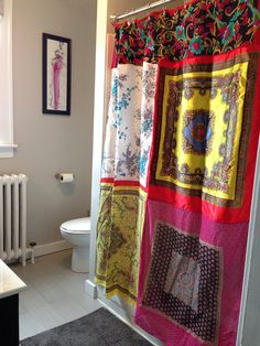 Bright and bold upcycled silk scarf shower stall curtain, boho gypsy decor on Etsy, $55.00