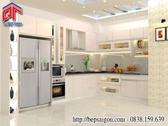 Tủ bếp đẹp gam màu trắng kem nhã nhặn, sang trọng TB24